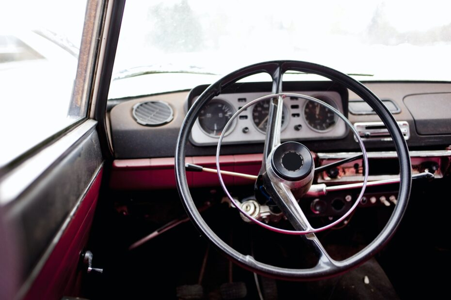 Interior of vintage car